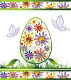 Easter egg with butterfly and flowers Royalty Free Stock Images