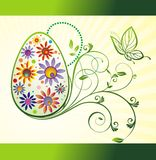 Easter egg with butterfly and flowers Royalty Free Stock Photos