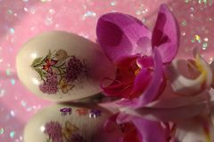 Easter egg with butterfly, flowers Stock Photo