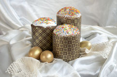 Easter egg cake fabric lace Stock Photos