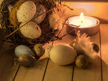 Easter egg and candle Stock Image