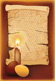 Easter egg with candle and vintage old paper Stock Image