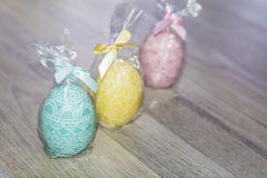 Easter egg candles Stock Photo