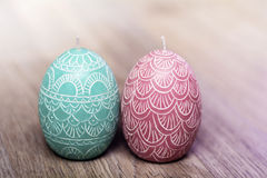 Easter egg candles Stock Image