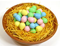Easter egg candy. Colorful easter egg candy on the wooden bowl Royalty Free Stock Image