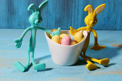 Easter Egg candy with bunnies Stock Images