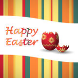 Easter egg card broken. Green, yellow, red and orange colored happy easter card with strips and art drowed easter egg Royalty Free Stock Photos