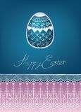 Easter egg card design with folk decoration Royalty Free Stock Photos
