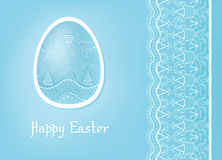 Easter egg card design with folk decoration Royalty Free Stock Photo