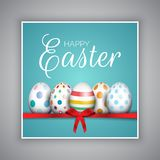 Easter egg card with red ribbon Stock Images