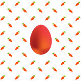 Easter Egg on Carrots. Background on white Royalty Free Stock Photo