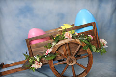 Easter Egg Cart. Western Wagon wtih Easter Eggs, One broken, would make a good digital photography prop stock photography