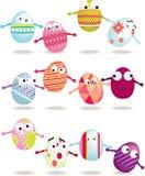 Easter egg cartoon icon set Stock Photos