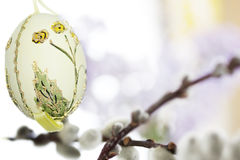 Easter egg with catkin branch. Stock Photography