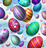 Easter Egg Celebration. Background with a group of three dimensional colorful vibrant eggs flying in the air falling from the sky as a symbol for the spring Stock Photography