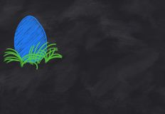Drawing of a colores blue easter egg Stock Images