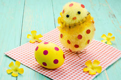 Easter egg, chick with red polka dots. Stock Photos
