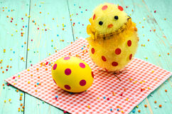 Easter egg, chick with red polka dots. Royalty Free Stock Image