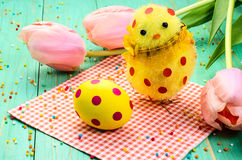 Easter egg, chick with red polka dots. Stock Photography
