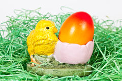 Easter egg with a chicken Royalty Free Stock Images