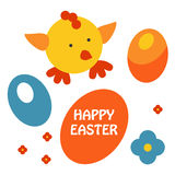 Easter egg and chicken card vector Stock Photo
