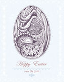 Easter Egg with chicken embryo. New life birth. Royalty Free Stock Photography