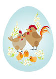 Easter egg. Chicken family. Easter egg. Happy family - chicken, rooster and chickens Stock Photos