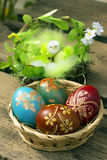 Easter egg. Chickens for decorating Easter eggs and egg Stock Images