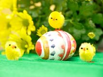 Easter Egg and Chicks Stock Images