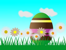 Easter egg chocolate and  flowers Stock Photography