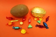 Easter egg chocolate and sweets or candy Royalty Free Stock Images