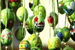 Easter egg church. Hand painted easter egg, riligion church, color image Stock Photos