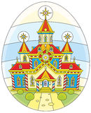 Easter egg with a church. A festively decorated church drawn on an Easter egg Royalty Free Stock Images
