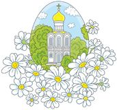 Easter egg with a church and flowers Royalty Free Stock Photos