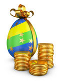 Easter egg and coins Stock Photo