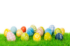 Easter egg collection. Easter egg variation on a meadow isolated on white Royalty Free Stock Images