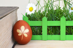Easter egg colored naturally, old book and Spring flowers Royalty Free Stock Images
