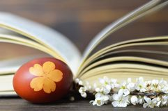 Easter egg colored with onion. Easter egg, spring flowers and book. Easter egg colored with onion. Easter egg, spring flower branch and book royalty free stock photos