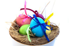 Easter egg with colored ribbons. Colorful Easter eggs with coloured ribbons Stock Photos