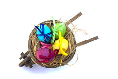 Easter egg with colored ribbons. Colorful Easter eggs with coloured ribbons stock photography