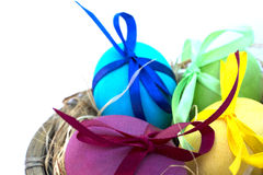 Easter egg with colored ribbons. Colorful Easter eggs with coloured ribbons royalty free stock images
