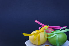 Easter egg with colored ribbons. Colorful Easter eggs with coloured ribbons Royalty Free Stock Photography