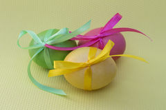 Easter egg with colored ribbons. Colorful Easter eggs with coloured ribbons royalty free stock photo