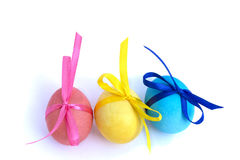 Easter egg with colored ribbons on a white background. Colorful easter eggs. Isolated on white background Stock Photos