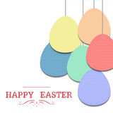 Easter egg. Colorful eggs hang on white background with red text  happy easter Royalty Free Stock Photos