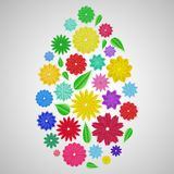 Easter egg of paper flowers. Easter egg of colorful paper flowers with shadows Royalty Free Stock Photo