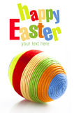 Easter egg with colorful woolen yarn Royalty Free Stock Photo