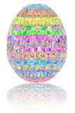 Easter egg composed of colorful gemstones on glossy white Stock Photography