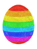 Easter egg composed of layers of colorful lines on white Royalty Free Stock Photos