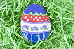 Easter Egg Cookie in Grass Royalty Free Stock Image